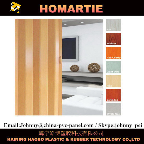 Waterproof Interior Folding Doors PVC 8mm Thickness With Rigid Hinge